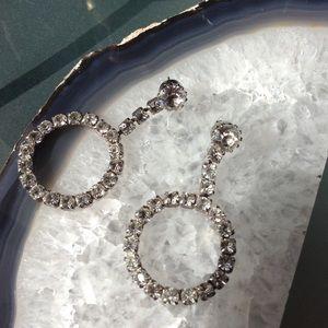 Vintage Rhinestone Circle Droplet Fancy Earrings